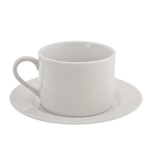 10 Strawberry Street Classic White 6-Ounce Cup and Saucer, Set of 6