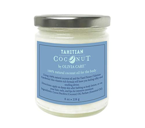 OLIVIA CARE Tahitian Coconut Oil, 100% all Natural Oils -Cold Pressed Unrefined and Pure extra Virgin Coconut Oil! Great for Body, Hails, lips (lip scrub) and face. Better than body lotion!