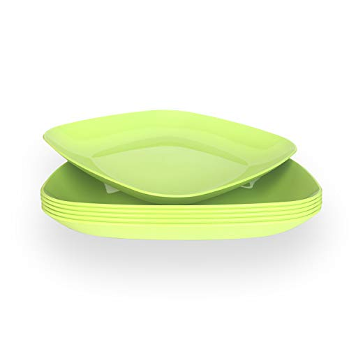 Dinner Plates, Party Plates, Kids Plates, Sturdy Plates, Picnic Plates, Unbreakable and Reusable Plastic Plates Set, BPA Free, Set of 6 each 9.8 inches - Made in Europe 9.8x9.8x1.2 inches, Green Olive (Green Olive Plate Dinner)