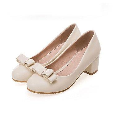 KYDJ @ Mujer-Tacón Robusto-Zapatos y Bolsos a Juego-Tacones-Casual Fiesta y Noche-Semicuero-Negro Rosa Blanco Beige White