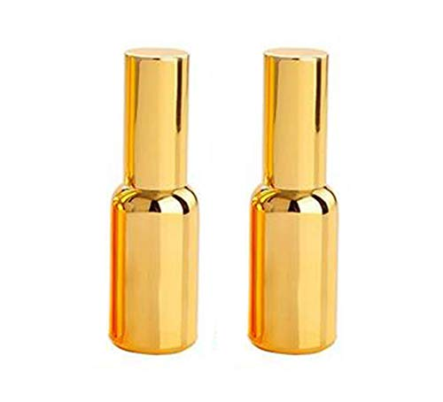 - 2Pcs Upscale Plated Gold Empty Refillable Glass Sprayer Atomizer Fine Mist Spray Bottles Portable Cosmetic Makeup Aromatherapy Essential Oil Toner Sample Packing Vial Container Pot(30ml/1oz)