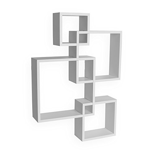 Danya B BR1023WH Decorative Wall Mount Floating Intersecting Cube Accent Wall Shelf - White by Danya B