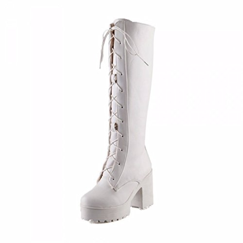 Thick bottom tube boots size shoes soled boots youth tide White (plus cashmere)