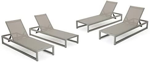 San LuisOutdoor Grey Mesh Chaise Lounge with Silver Finished Aluminum Frame Set of 4