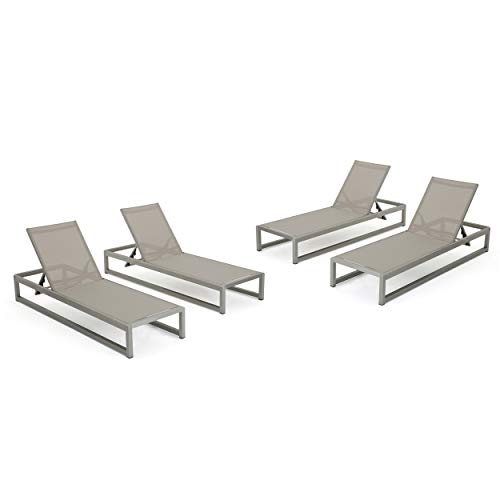 Christopher Knight Home 303566 Chloe Outdoor Chaise Lounge Set of 4 , Grey Silver