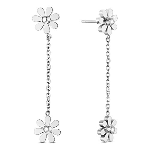 SHEGRACE Woman Stainless Steel Daisy Flowers Anklet Rose Gold Adjustable 200mm Jewellery Gift (Platinum-Daisy Flower Drop Earring)