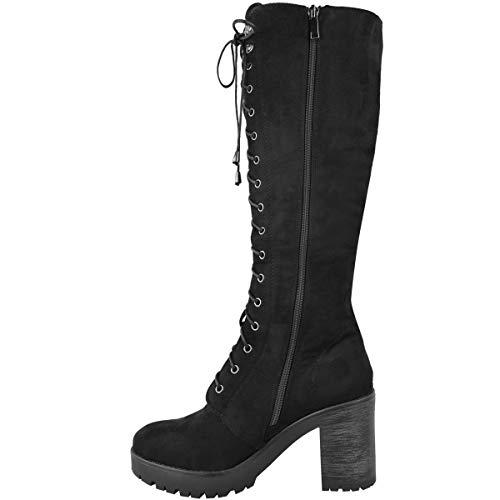 Bottes En Gothique Par Motard Punk Heelberry® Daim Noir Pour Gothiques Femmes Style De r4vBxwAqr