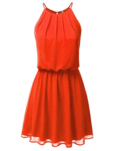 (JJ Perfection Women's Sleeveless Double-Layered Pleated Mini Chiffon Dress Tomatored)