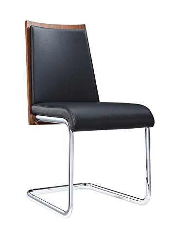 00494aa958 VIG Furniture Morgan Collection Modern Leatherette Upholstered Dining Side  Chairs with Walnut Veneer Back and Chrome
