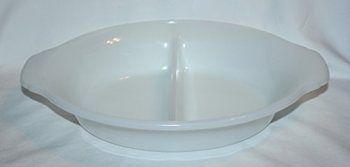 Vintage Anchor Hocking Fire-King Milk Glass Divided Serving Baking Dish w/ Handles