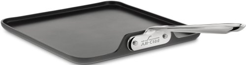 All-Clad 3021 Hard Anodized Aluminum Scratch Resistant Nonstick Anti-Warp Base Square Griddle Specialty Cookware, 11-Inch, ()