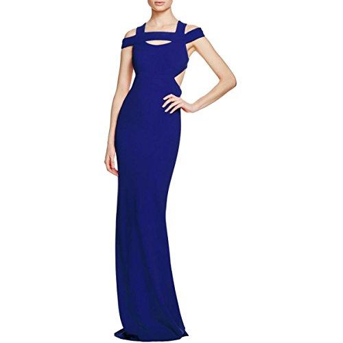 Nicole Miller Womens Cut-Out Cold Shoulder Evening Dress Blue 4