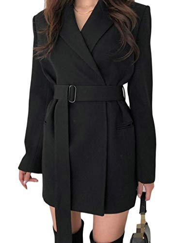 Wofupowga Womens Lapel Work Slim Fit Belted Mid-Length Blazer Jacket Coat Black Medium