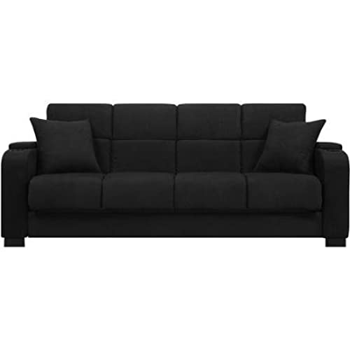 Tyler Black Microfiber Storage Arm Convert A Couch Sofa Sleeper Bed, Has A  3 Position Click Style Hinge Which Allows You To Sit, Recline Or Sleep Too  ...