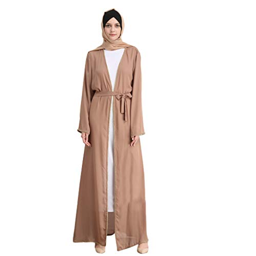 Close-dole Women's Muslim Summer Elegant Cardigan Robe Diamond Beaded Fashion Beaded Embroidered Loose Robe Khaki