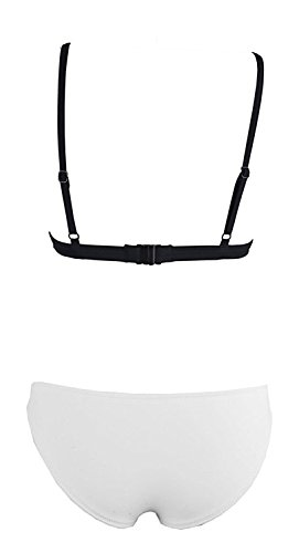 Lacencn Charming Bright Mesh Wet Suit Bikini Swimsuit Triangle Top SwimsuitWhite Large