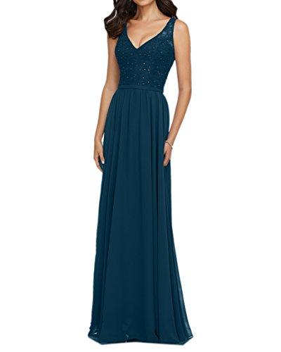 Dunkel Abendkleider Lang Brautjungfernkleider Damen Charmant Trumpet Etuikleider Blau Abschlussballkleider Spitze F7Ow8fWfqB