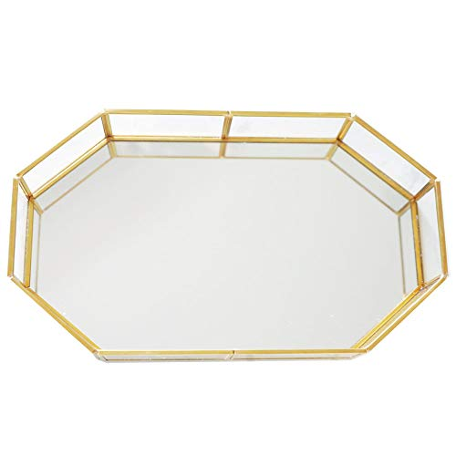 18.75'' Large Decorative Tray ,Vintage Glass Jewelry Tray with Mirrored Bottom Vanity Organizer for Accent Table,Gold Leaf Finish (Mirrored Dresser Vintage)