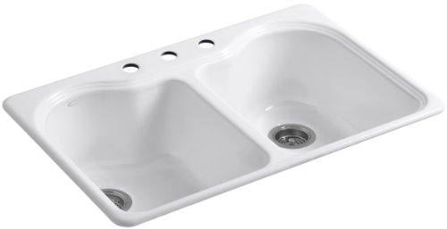 KOHLER K-5818-3-0 Hartland Self-Rimming Kitchen Sink with Three-Hole Faucet Drilling, White (Bowl Kohler Rimming Double Self)