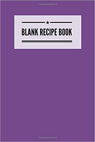 blank recipe book purple 6 x 9 to write in 100 pages for