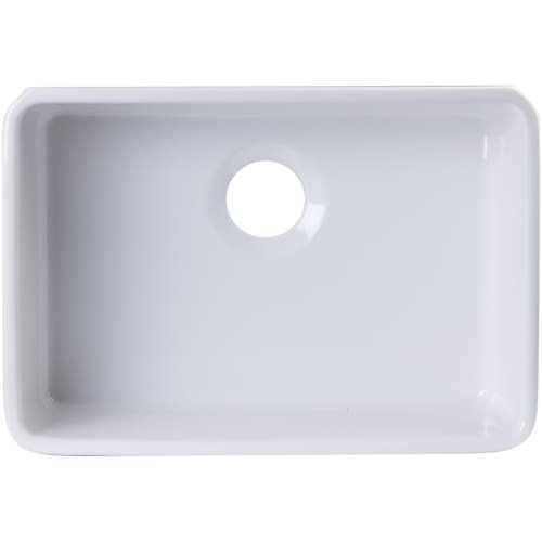 ALFI brand AB503UM-W White Single Bowl Fireclay Undermount Kitchen Sink, ()
