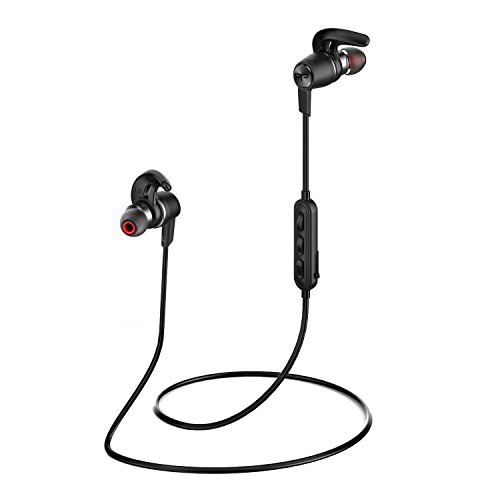 Origem HS-1 Quick Charge Magnetic Bluetooth Headphones, Wireless Stereo Sweatproof In Ear Earbuds with Mic/APT-X for Running, Gym, Exercise and Workout (Black)