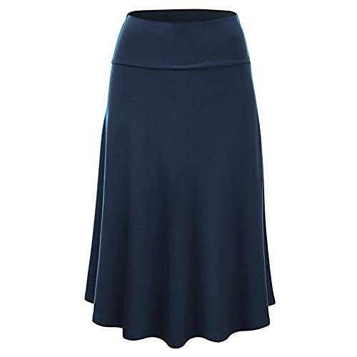 PASATO Skirts for Women's Plus Size Solid Flare Hem High Waist Urban Wind Midi Skirt Sexy Uniform Pleated Skirt (Blue,M=US:S)
