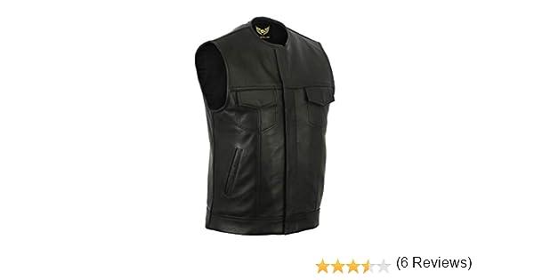 Sons of Anarchy Chaleco de cuero genuino sin cuello para hombre Chaleco de motociclista negro XL - EUR56