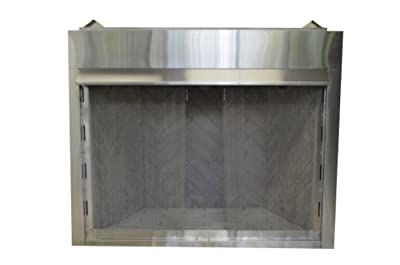 Sure Heat VFLBS36 Surefire Vent-Free Low Profile Stainless Steel Firebox with Heat Deflecting Mantel Guard and Screen, 36-Inch