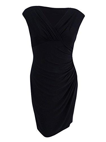 LAUREN RALPH LAUREN Womens Ruched Sleeveless Semi-Formal Dress Black 12
