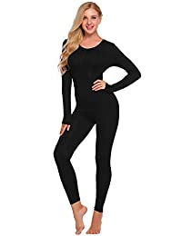 Ekouaer Women's Crewneck Stretch Top & Bottom Thin Long Thermal Underwear Set