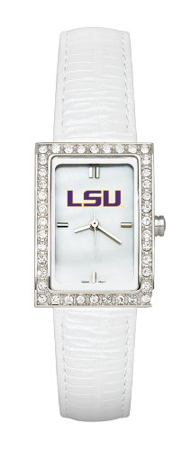 NCAA LSU Tigers Ladies Allure Watch White Leather Strap by Logo Art