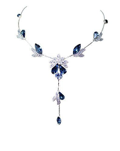 Faship Gorgeous Navy Blue Crystal Floral Necklace Earrings Set - Navy Blue