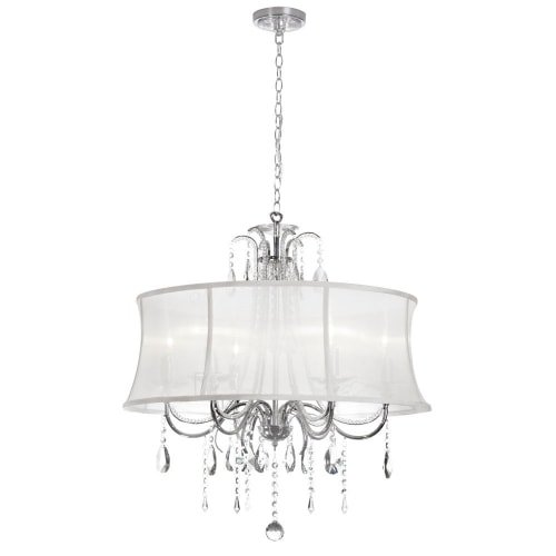 Dainolite Lighting 615-270C-PC-119 6-Light Crystal Chandelier with White Organza Bell Shade