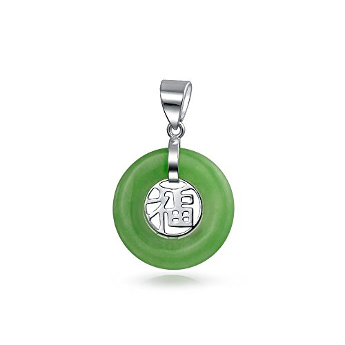 Bling Jewelry Green Jade Chinese Fortune 925 Sterling Silver Pendant Necklace