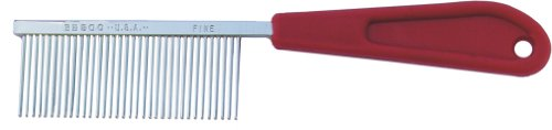 Resco Professional Cat Comb with Fine Tooth Spacing and Red Plastic Handle, My Pet Supplies