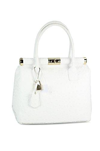 BELLI The Bag L Leder Henkeltasche weiß strauss - 29x24x16 cm (B x H x T)
