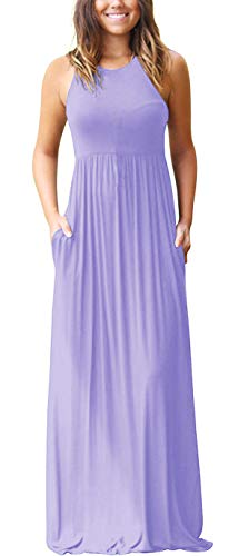 GRECERELLE Women's Sleeveless Racerback Loose Plain Maxi Dresses Casual Long Dresses with Pockets Light Purple-2XL
