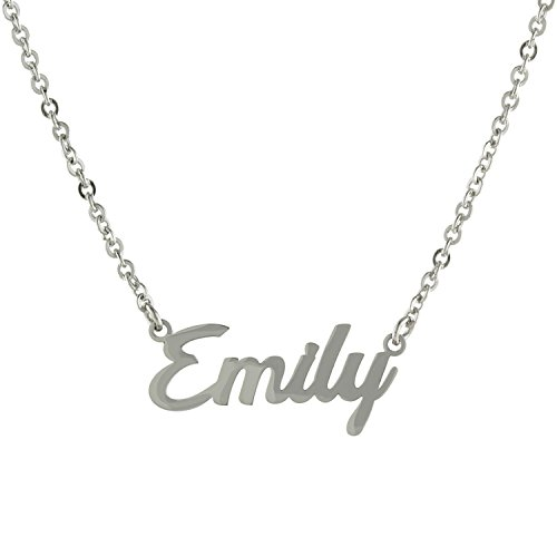 Sterling Silver Custom-Made Nameplate Script Font Pendant Necklace, 16'''' +2'''' Extender by Amazon Collection
