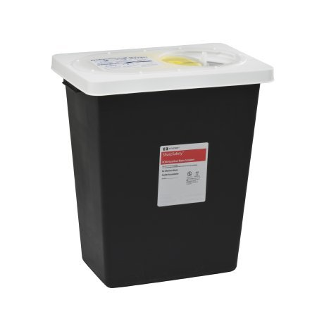 Covidien 8612RC SharpSafety RCRA Hazardous Waste Container Slide Lid, 12 gal Capacity, Black (Pack of 10)