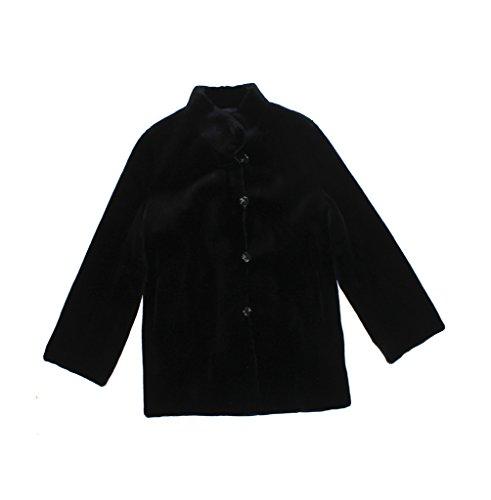 (Bergama 418499 New Black Sheared Mink Fur Reversible Stroller Coat Jacket 16 Large)