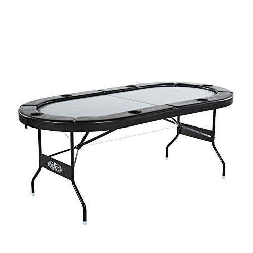 Barrington Poker Table for 6 Players with Padded Rails and Cup Holders (Marketing Poker Chip)
