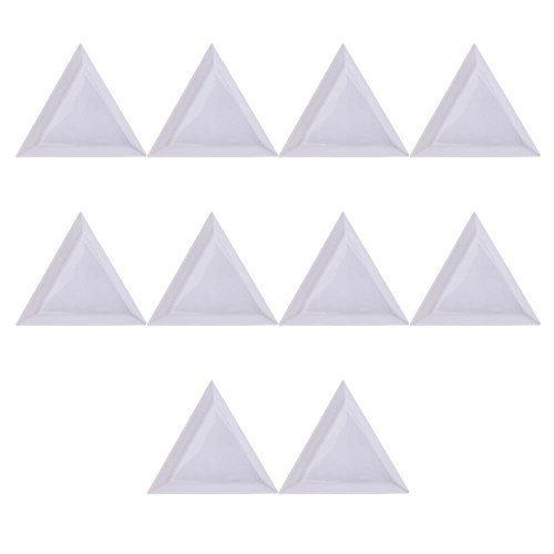 (Merssavo 10Pcs Triangle/Round Rhinestones Beads Crystal Nail Art Sorting Trays Plastic)