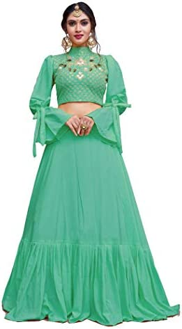 a9fb019acc RAMDEV EMPERIO Women's Sea Green Crepe Silk Lehenga choli(Free size, 1430)