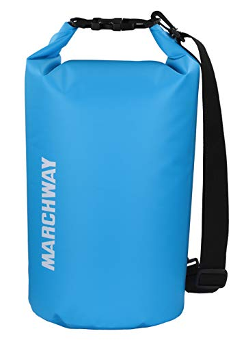 MARCHWAY Floating Waterproof Dry Bag 5L/10L/20L/30L, Roll Top Sack Keeps Gear Dry for Kayaking, Rafting, Boating, Swimming, Camping, Hiking, Beach, Fishing (Light Blue, 5L) (Track Mesh Cap)