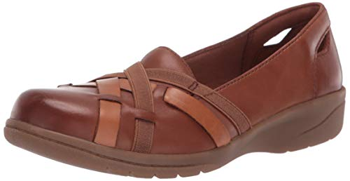 CLARKS Women's Cheyn Creek Loafer Mahogany/tan Leather Combi 100 M US