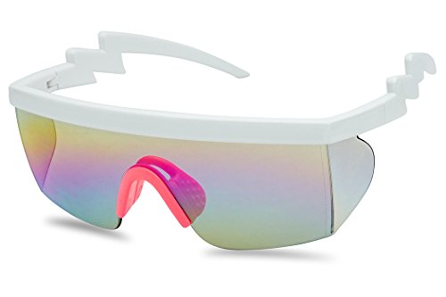 Large Wrap Around Rainbow Mirrored Semi Rimless Flat Top Shield Goggles Sunglasses (White Pink Frame | Rainbow ()