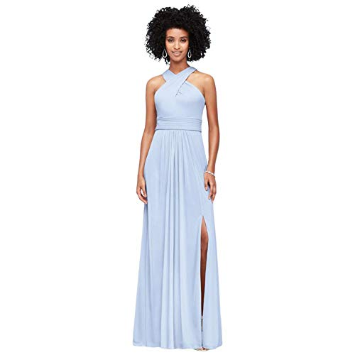 David's Bridal Crisscross High-Neck Mesh Bridesmaid Dress Style F19952, Ice Blue, 10