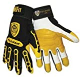 Tillman Medium Black And Gold TrueFit Full Finger Top Grain Goatskin Super Premium Mechanics Gloves With Elastic Cuff, TPR Pads on Finger, Knuckle And Back Of Hand, Double Reinforced Fingertips