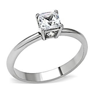 Verena: 0.87ct Princess-cut Ice on Fire CZ Promise Friendship Ring 316 Steel, 3114A sz 8.0